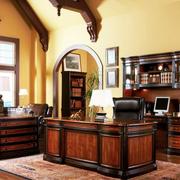 美式办公室实木桌