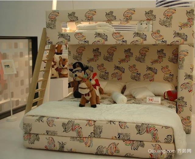 2015儿童房现代时尚双层儿童床装修效果图