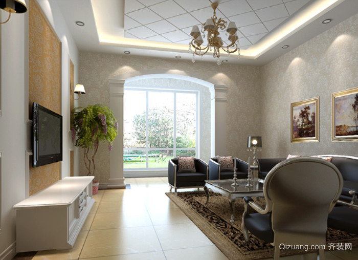 简欧风格优雅大气的客厅 垭口 装修效果图