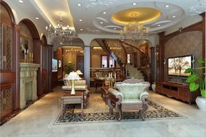 2015潇洒美式大户型客厅装修效果图