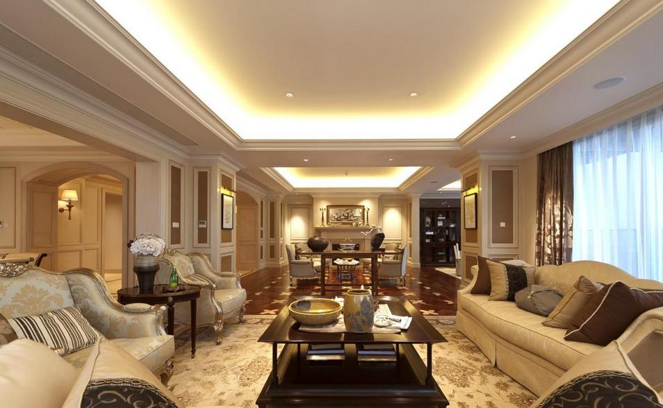 富丽堂皇的欧式客厅别墅装修吊顶效果图v客厅-225平方米别墅装修图片