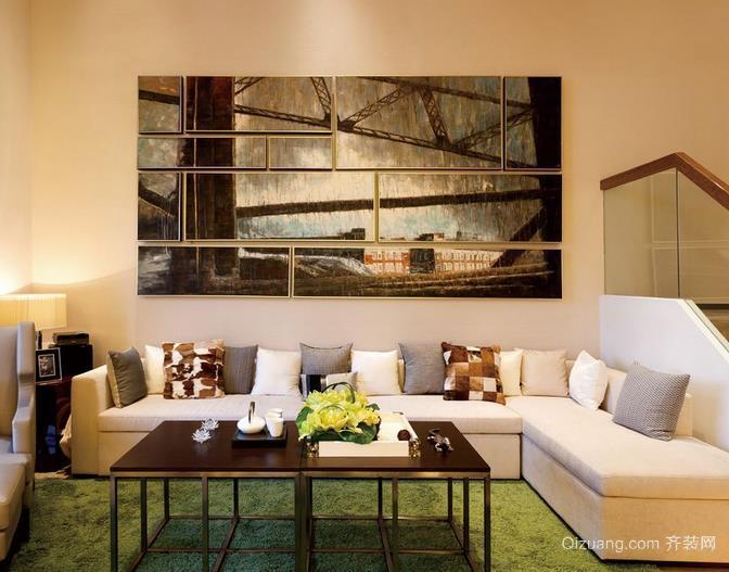 助你提升室内品味客厅沙发抽象画装饰效果图
