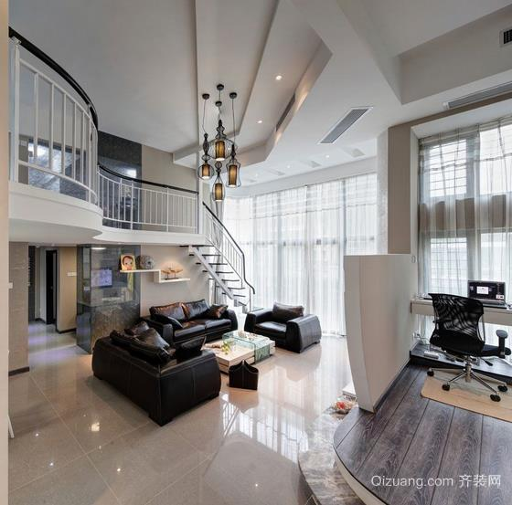 时尚简约小复式楼玻璃扶手楼梯装修效果图