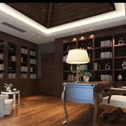 现代书房实木书柜效果图