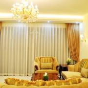 明亮黄色窗帘设计