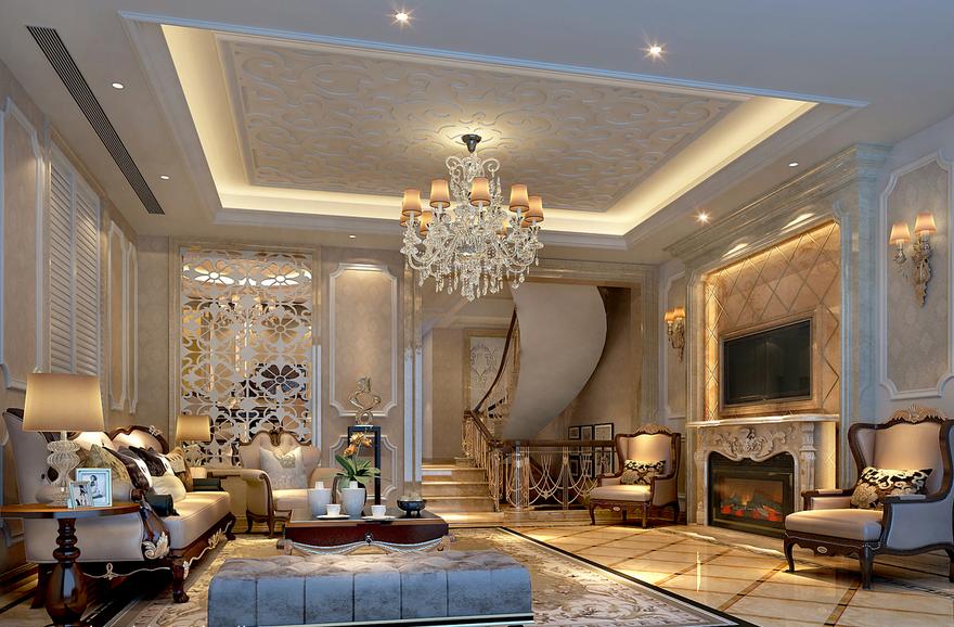 宫殿式的法式别墅客厅吊顶装修效果图鉴赏图片