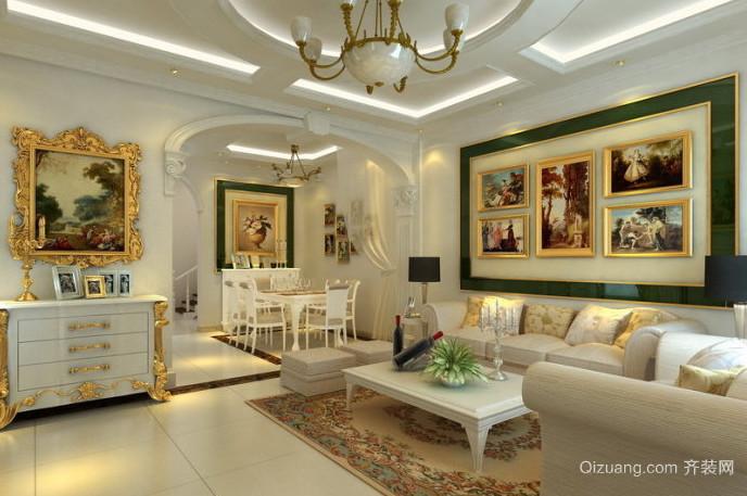 简欧风格优雅大气的客厅垭口装修效果图