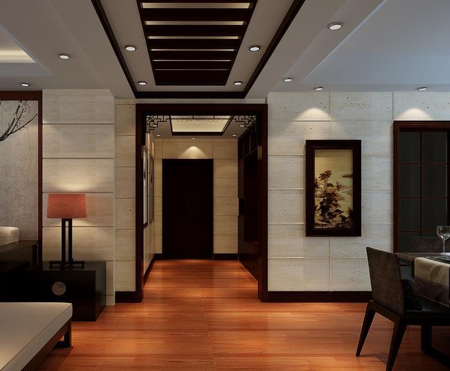 现代美式家居 客厅生态木吊顶 装修 效果图 齐装