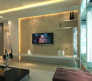 简欧式客厅电视背景墙壁纸装修效果图