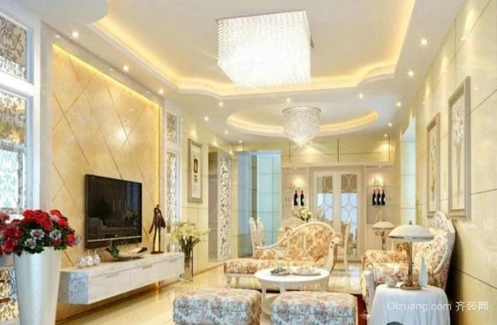 美轮美奂的欧式奢华客厅电视背景墙装修图
