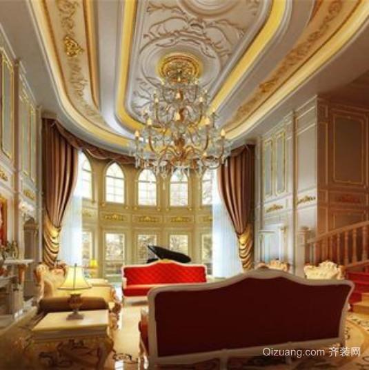 美轮美奂别墅法式宏伟客厅吊顶装修效果图