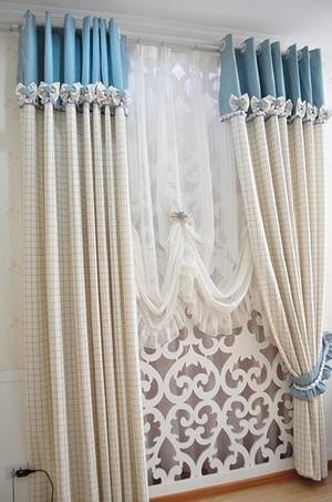 三室两厅两卫清新客厅窗帘装修效果图