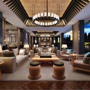 色调柔和的客厅灯光设计