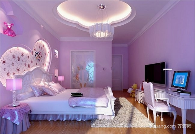 现代简约时尚紫色系卧室装修效果图