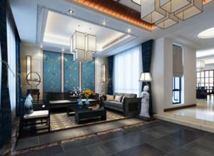 农村小别墅常用的新中式客厅装修效果图