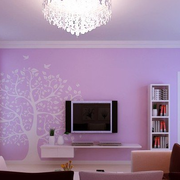 粉红浪漫的电视背景墙