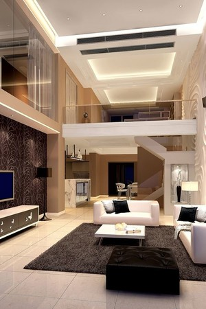 大户型复式简约客厅吊顶装修效果图鉴赏