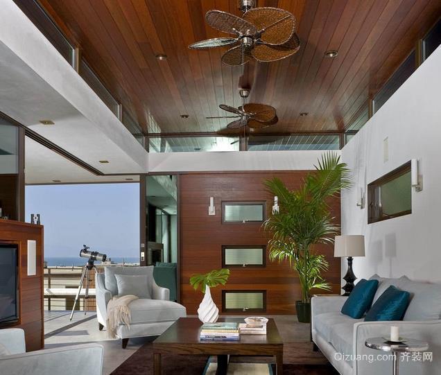 现代美式家居客厅生态木吊顶装修效果图