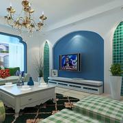 经典蓝色客厅背景墙