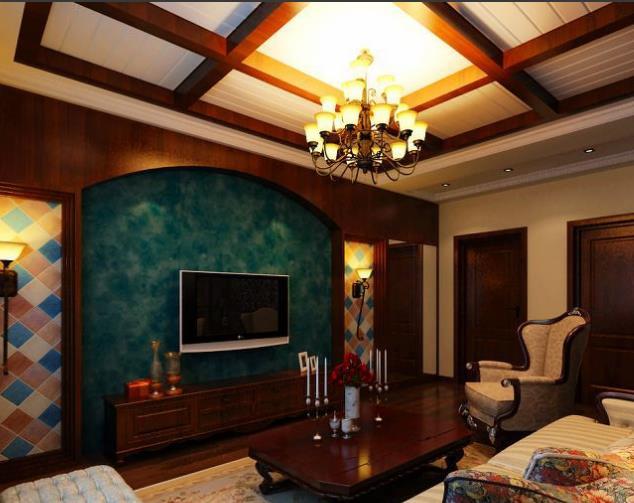 现代 美式 家居客厅生态 木吊顶 装修效果图 齐装
