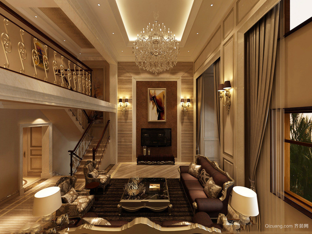 2015古典巴洛克客厅装修效果图