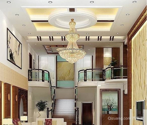 90平米大户型欧式客厅吊顶装修效果图
