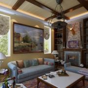 深色美式客厅设计