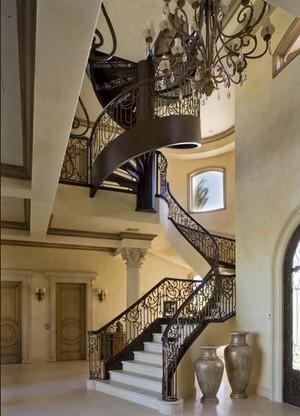 现代简约小别墅旋转楼梯装修效果图