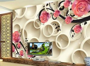 高贵典雅的现代客厅3d壁画背景墙装修效果图
