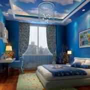 蓝色调卧室精装