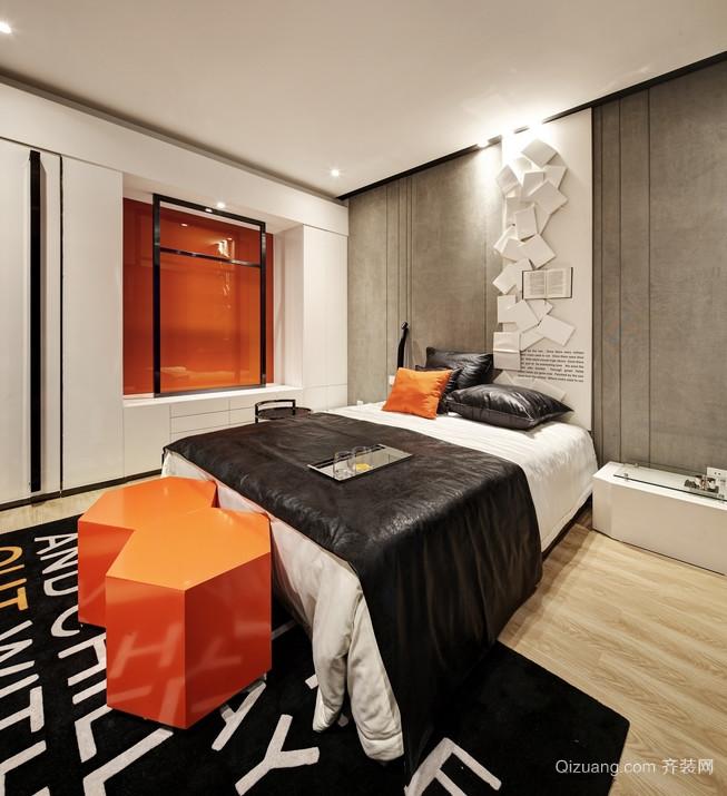 潇洒大方的橙色卧室背景墙装修效果图鉴赏