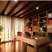 暖色系书房实木书柜