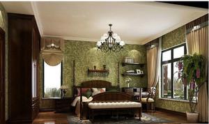 2015美式乡村卧室壁纸装修效果图