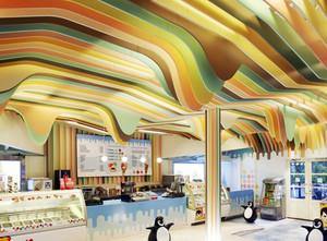 奶茶店彩绘吊顶