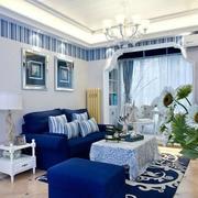 纯正蓝色浪漫客厅