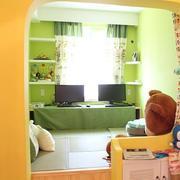 小户型绿色半开放式书房