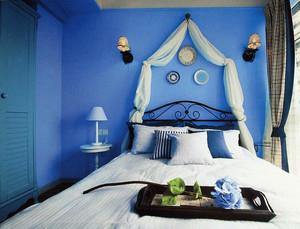 两室一厅地中海风格清新简约卧室背景墙效果图