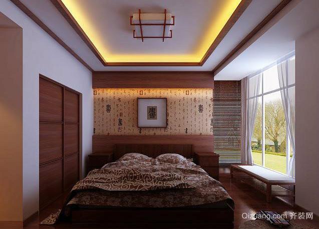 50平米别致典雅的中式卧室背景墙装修效果图