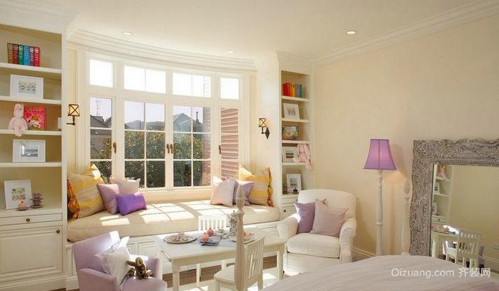 浪漫温馨女生卧室飘窗装修效果图