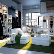 小型公寓客厅书柜