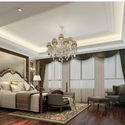 卧室白色石膏线吊顶