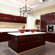 厨房不锈钢深红色橱柜