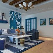 蓝色小户型客厅吊顶