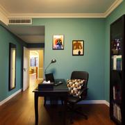 书房蓝色背景墙欣赏