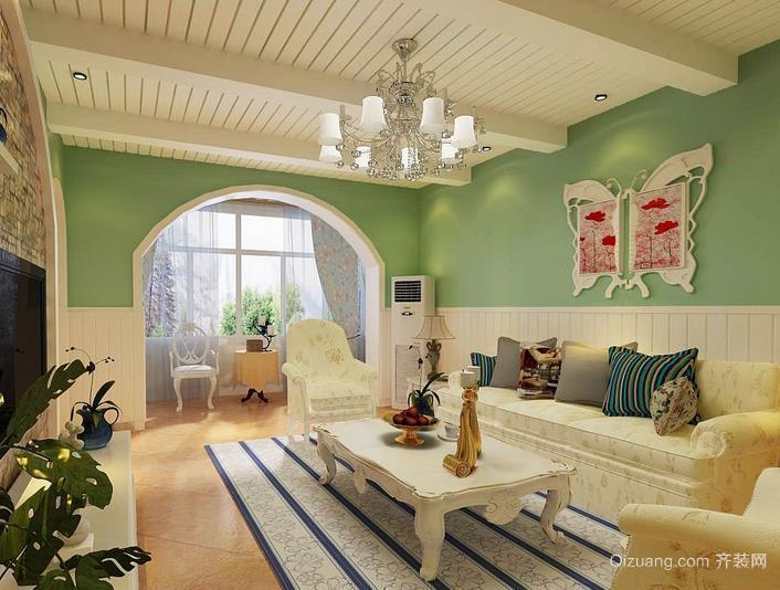 地中海风格小户型客厅吊顶装修设计效果图