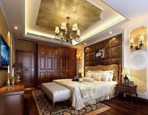 两室一厅欧式奢华卧室背景墙装修效果图