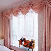 卧室飘窗粉色窗帘