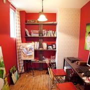 家居红色书房图片