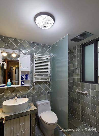美式田园风格小户型卫生间玻璃隔断装修效果图