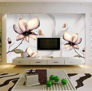 田园风格客厅液晶电视背景墙液体壁纸装修效果图